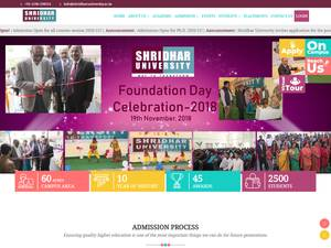 Shridhar University's Website Screenshot