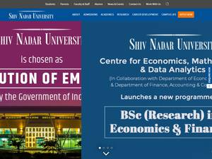 Shiv Nadar University's Website Screenshot