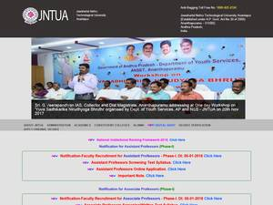 Jawaharlal Nehru Technological University, Anantapur's Website Screenshot