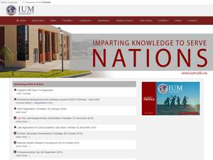 The International University of Management's Website Screenshot