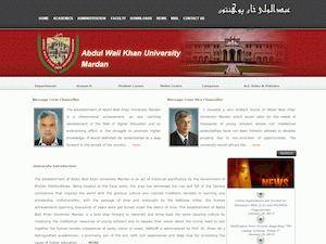 Abdul Wali Khan University Mardan's Website Screenshot