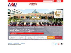 Asia e University's Website Screenshot