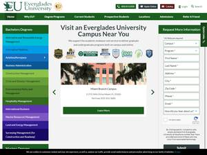 Everglades University's Website Screenshot