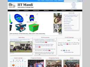 Indian Institute of Technology Mandi's Website Screenshot