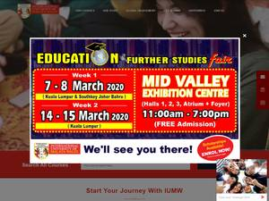 International University of Malaya-Wales's Website Screenshot