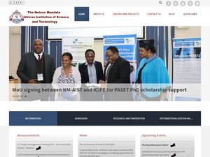 Nelson Mandela African Institution of Science and Technology's Website Screenshot