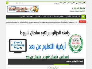 Université Brahim Soltane Chaibout d'Alger 3's Website Screenshot