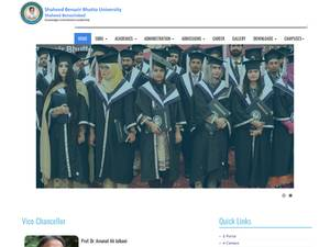 Shaheed Benazir Bhutto University, Shaheed Benazirabad's Website Screenshot