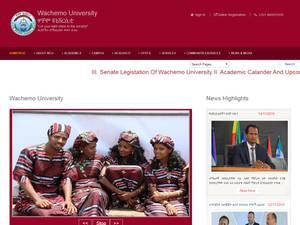 Wachamo University's Website Screenshot