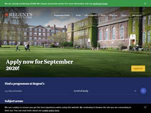 Regent's University London's Website Screenshot