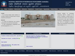 National Institute of Technology, Puducherry's Website Screenshot