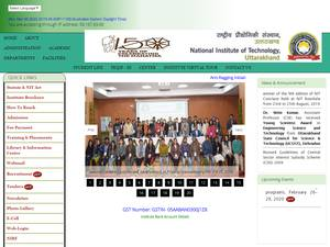 National Institute of Technology, Uttarakhand's Website Screenshot