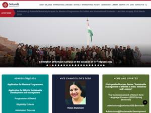 Nalanda University's Website Screenshot