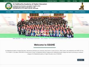 Sri Siddhartha Academy of Higher Education's Website Screenshot