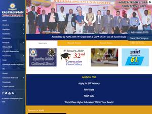 Kalasalingam University's Website Screenshot