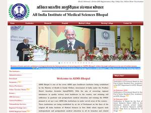 All India Institute of Medical Sciences Bhopal's Website Screenshot