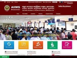All India Institute of Medical Sciences Bhubaneswar's Website Screenshot