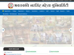 Bhakta Kavi Narsinh Mehta University's Website Screenshot