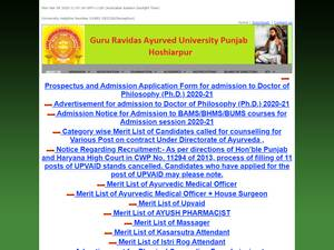 Guru Ravidas Ayurved University's Website Screenshot