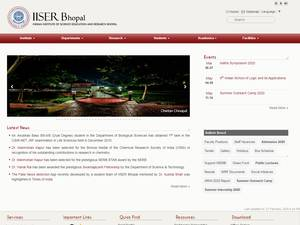 Indian Institute of Science Education and Research, Bhopal's Website Screenshot
