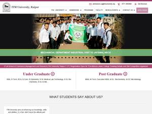 ITM University Raipur's Website Screenshot