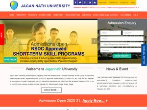 Jagan Nath University's Website Screenshot