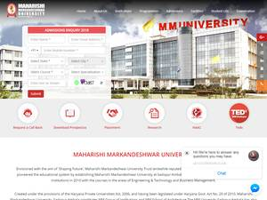 Maharishi Markandeshwar University, Sadopur's Website Screenshot