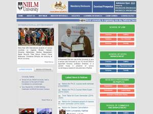 NIILM University's Website Screenshot