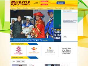 Pratap University's Website Screenshot