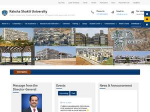 Raksha Shakti University's Website Screenshot