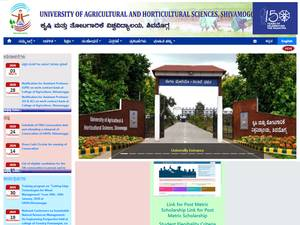 University of Agricultural and Horticultural Sciences, Shivamogga's Website Screenshot