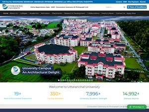 Uttaranchal University's Website Screenshot