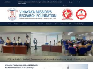 Vinayaka Missions University's Website Screenshot
