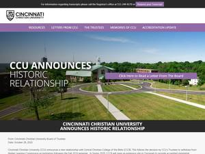Cincinnati Christian University's Website Screenshot