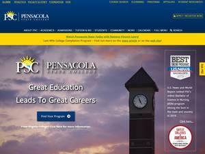 Pensacola State College's Website Screenshot