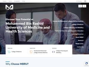 Mohammed Bin Rashid University of Medicine and Health Sciences's Website Screenshot