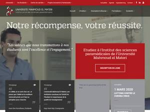 Université Mahmoud El Materi's Website Screenshot