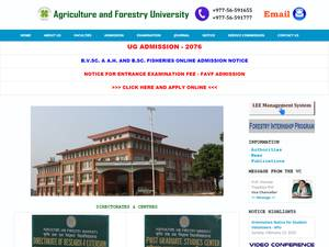 Agriculture and Forestry University's Website Screenshot