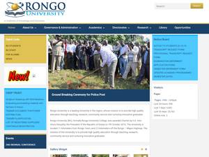 Rongo University's Website Screenshot