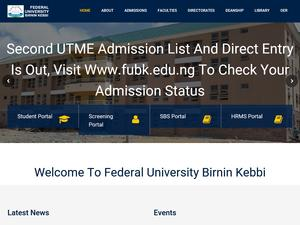 Federal University, Birnin Kebbi's Website Screenshot
