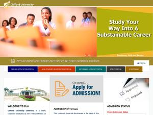 Clifford University's Website Screenshot