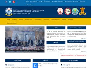 Delhi Pharmaceutical Sciences and Research University's Website Screenshot