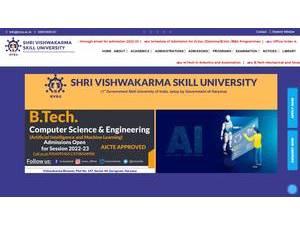 Shri Vishwakarma Skill University's Website Screenshot