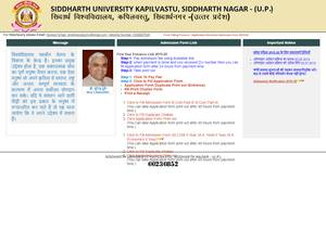 Siddharth University's Website Screenshot