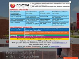P P Savani University's Website Screenshot