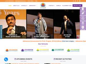 Swarnim Startup and Innovation University's Website Screenshot