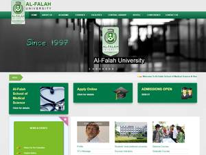 Al-Falah University's Website Screenshot