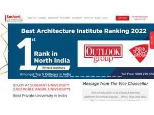 Sushant University's Website Screenshot