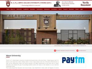 Dr. A.P.J Abdul Kalam University's Website Screenshot
