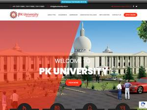 P.K. University's Website Screenshot